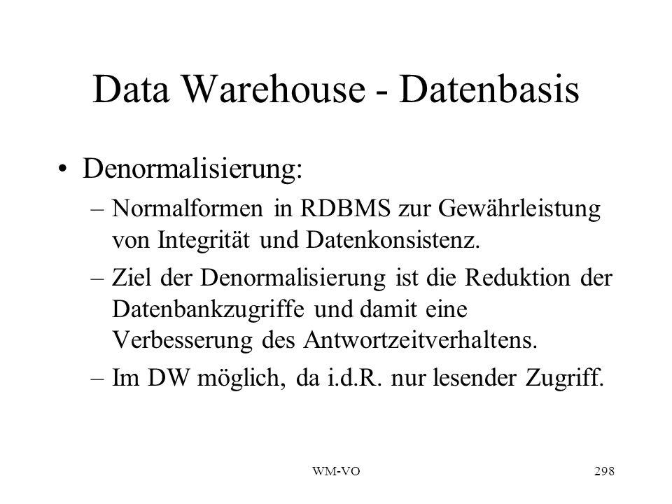 WM-VO298 Data Warehouse - Datenbasis Denormalisierung: –Normalformen in RDBMS zur Gewährleistung von Integrität und Datenkonsistenz.