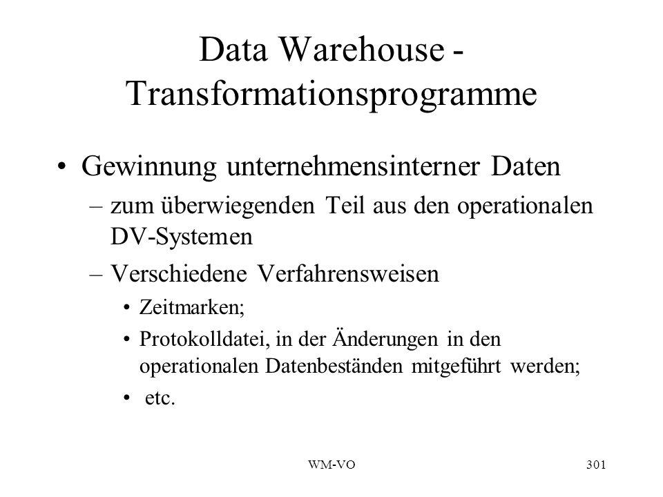 WM-VO301 Data Warehouse - Transformationsprogramme Gewinnung unternehmensinterner Daten –zum überwiegenden Teil aus den operationalen DV-Systemen –Verschiedene Verfahrensweisen Zeitmarken; Protokolldatei, in der Änderungen in den operationalen Datenbeständen mitgeführt werden; etc.
