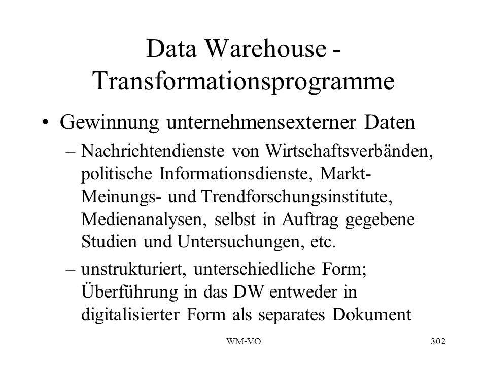 WM-VO302 Data Warehouse - Transformationsprogramme Gewinnung unternehmensexterner Daten –Nachrichtendienste von Wirtschaftsverbänden, politische Informationsdienste, Markt- Meinungs- und Trendforschungsinstitute, Medienanalysen, selbst in Auftrag gegebene Studien und Untersuchungen, etc.