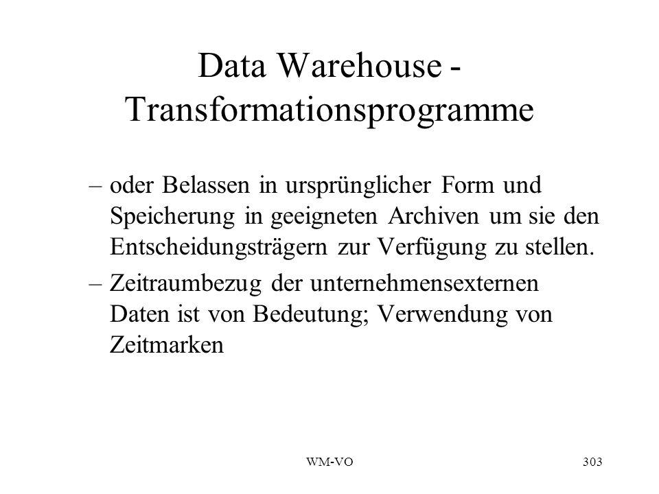 WM-VO303 Data Warehouse - Transformationsprogramme –oder Belassen in ursprünglicher Form und Speicherung in geeigneten Archiven um sie den Entscheidungsträgern zur Verfügung zu stellen.