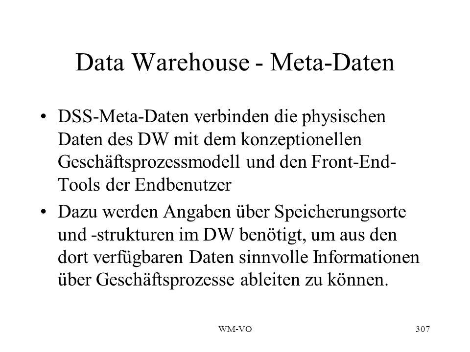 WM-VO307 Data Warehouse - Meta-Daten DSS-Meta-Daten verbinden die physischen Daten des DW mit dem konzeptionellen Geschäftsprozessmodell und den Front-End- Tools der Endbenutzer Dazu werden Angaben über Speicherungsorte und -strukturen im DW benötigt, um aus den dort verfügbaren Daten sinnvolle Informationen über Geschäftsprozesse ableiten zu können.