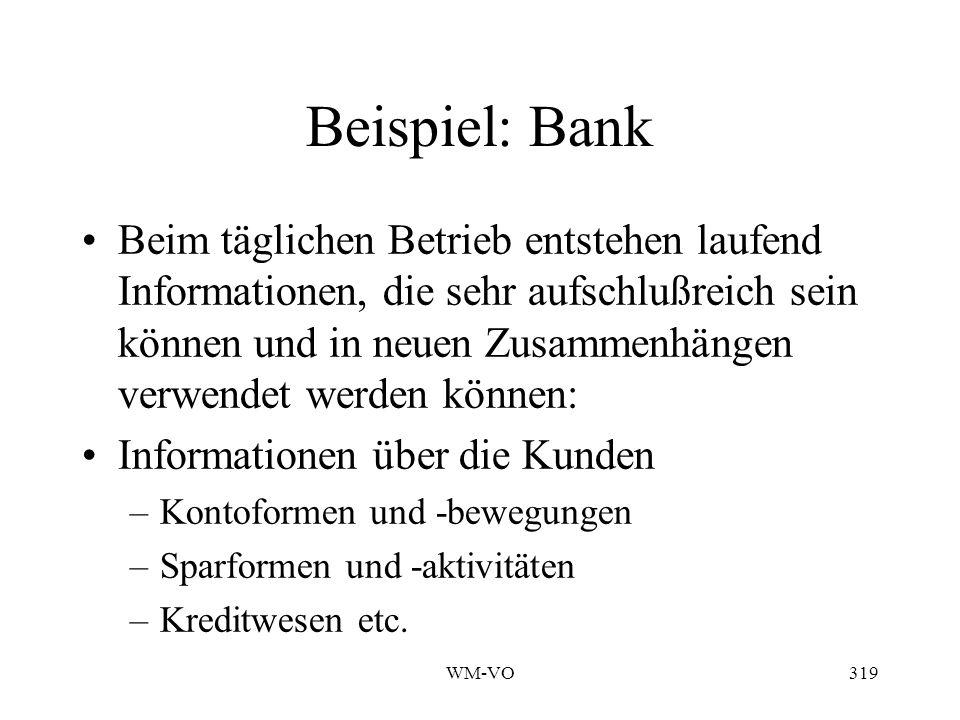WM-VO319 Beispiel: Bank Beim täglichen Betrieb entstehen laufend Informationen, die sehr aufschlußreich sein können und in neuen Zusammenhängen verwendet werden können: Informationen über die Kunden –Kontoformen und -bewegungen –Sparformen und -aktivitäten –Kreditwesen etc.