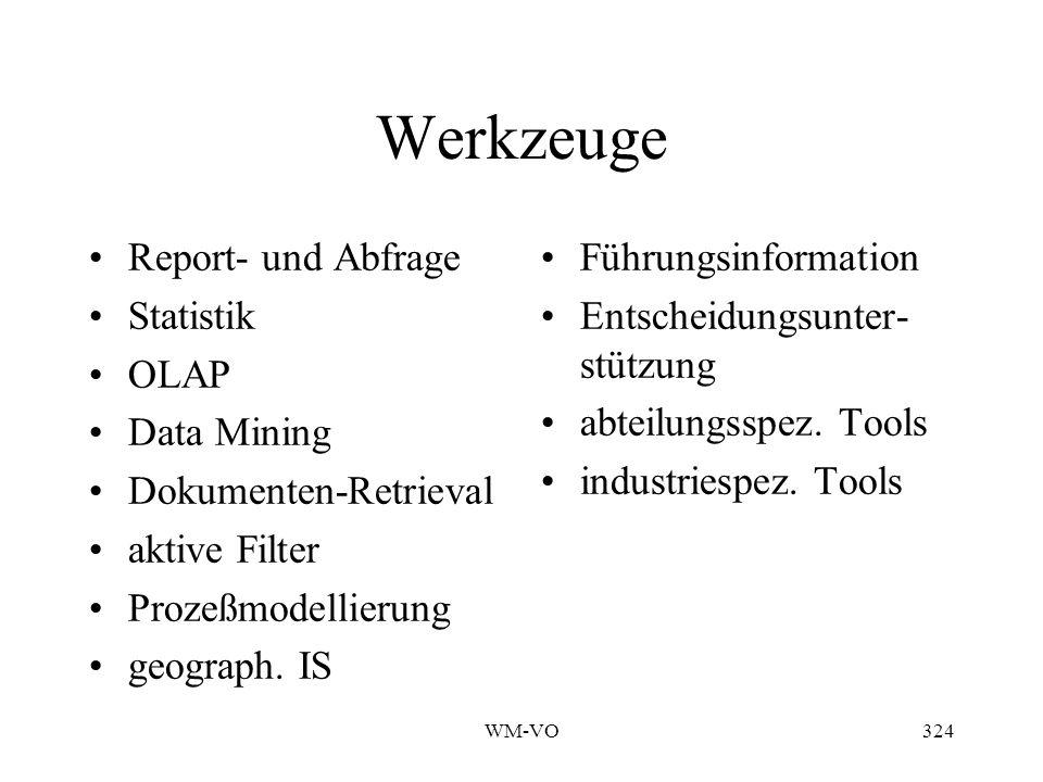 WM-VO324 Werkzeuge Report- und Abfrage Statistik OLAP Data Mining Dokumenten-Retrieval aktive Filter Prozeßmodellierung geograph.