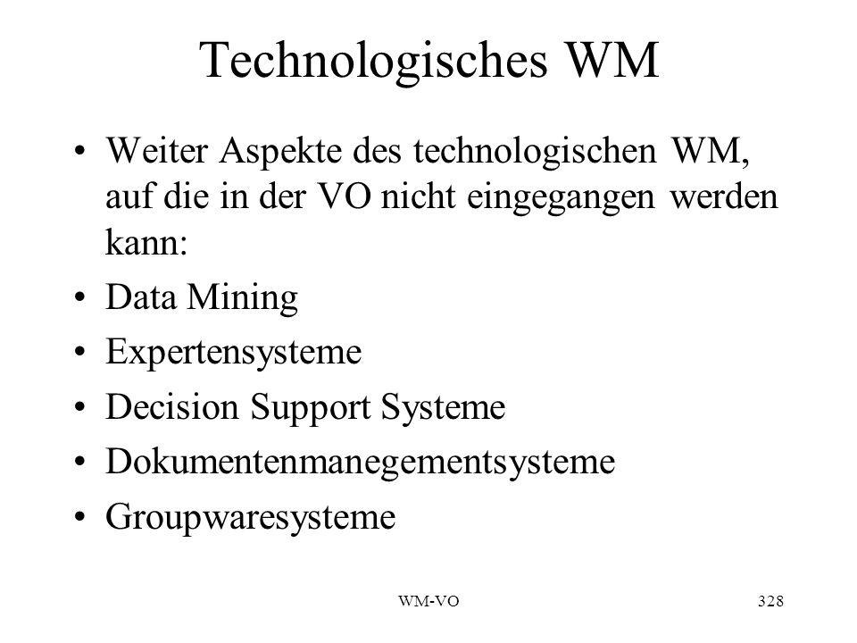 WM-VO328 Technologisches WM Weiter Aspekte des technologischen WM, auf die in der VO nicht eingegangen werden kann: Data Mining Expertensysteme Decision Support Systeme Dokumentenmanegementsysteme Groupwaresysteme