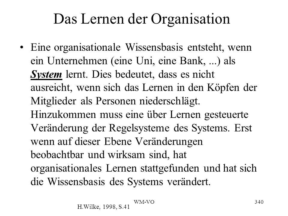 WM-VO340 Das Lernen der Organisation Eine organisationale Wissensbasis entsteht, wenn ein Unternehmen (eine Uni, eine Bank,...) als System lernt.