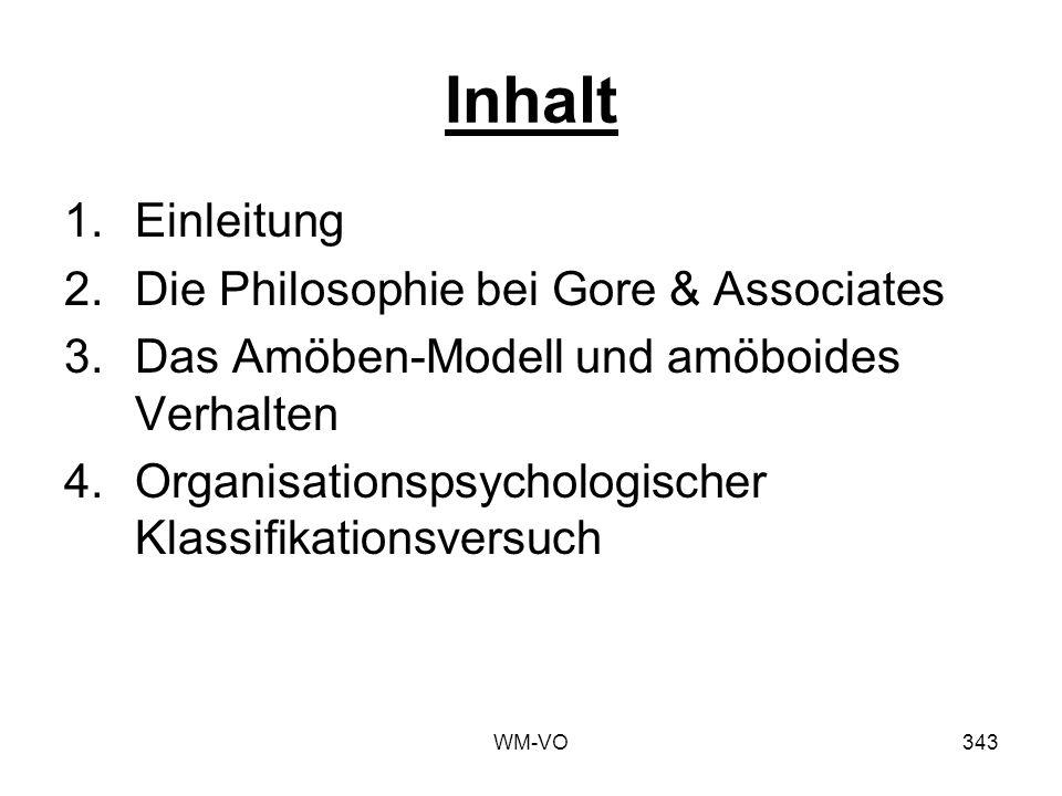 WM-VO343 Inhalt 1.Einleitung 2.Die Philosophie bei Gore & Associates 3.Das Amöben-Modell und amöboides Verhalten 4.Organisationspsychologischer Klassifikationsversuch