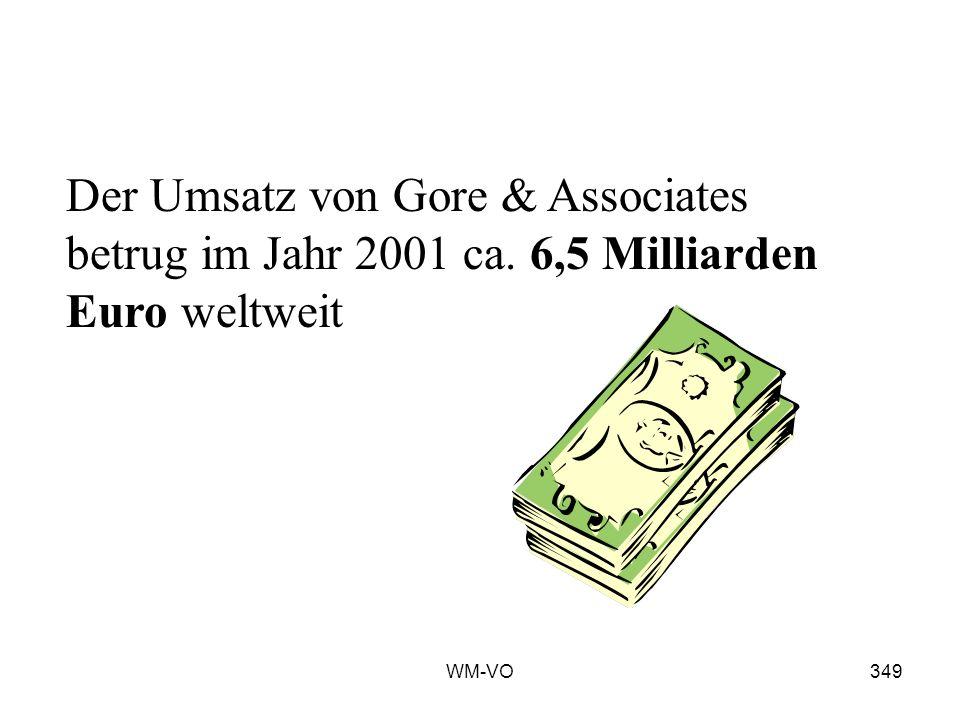 WM-VO349 Der Umsatz von Gore & Associates betrug im Jahr 2001 ca. 6,5 Milliarden Euro weltweit