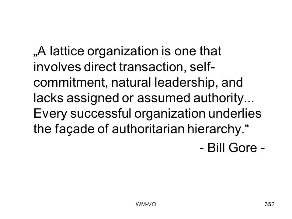 WM-VO352 A lattice organization is one that involves direct transaction, self- commitment, natural leadership, and lacks assigned or assumed authority...