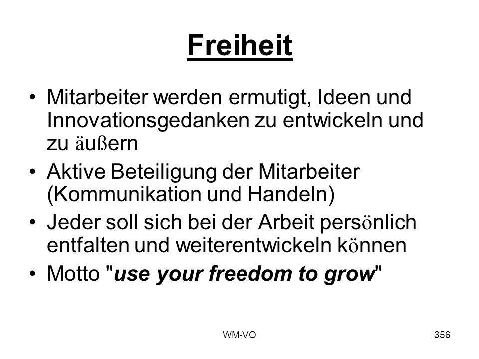 WM-VO356 Freiheit Mitarbeiter werden ermutigt, Ideen und Innovationsgedanken zu entwickeln und zu ä u ß ern Aktive Beteiligung der Mitarbeiter (Kommunikation und Handeln) Jeder soll sich bei der Arbeit pers ö nlich entfalten und weiterentwickeln k ö nnen Motto use your freedom to grow