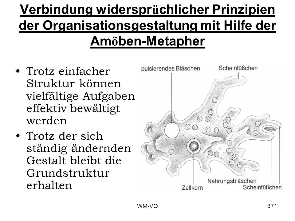 WM-VO371 Verbindung widerspr ü chlicher Prinzipien der Organisationsgestaltung mit Hilfe der Am ö ben-Metapher Trotz einfacher Struktur können vielfältige Aufgaben effektiv bewältigt werden Trotz der sich ständig ändernden Gestalt bleibt die Grundstruktur erhalten
