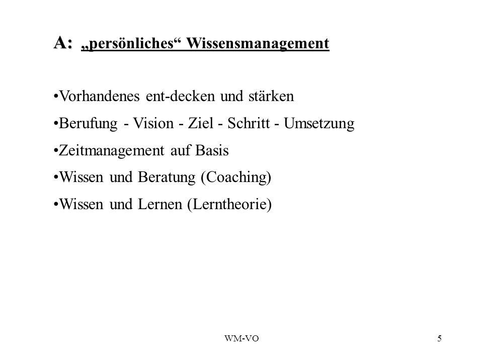 WM-VO5 A: A: persönliches Wissensmanagement Vorhandenes ent-decken und stärken Berufung - Vision - Ziel - Schritt - Umsetzung Zeitmanagement auf Basis Wissen und Beratung (Coaching) Wissen und Lernen (Lerntheorie)