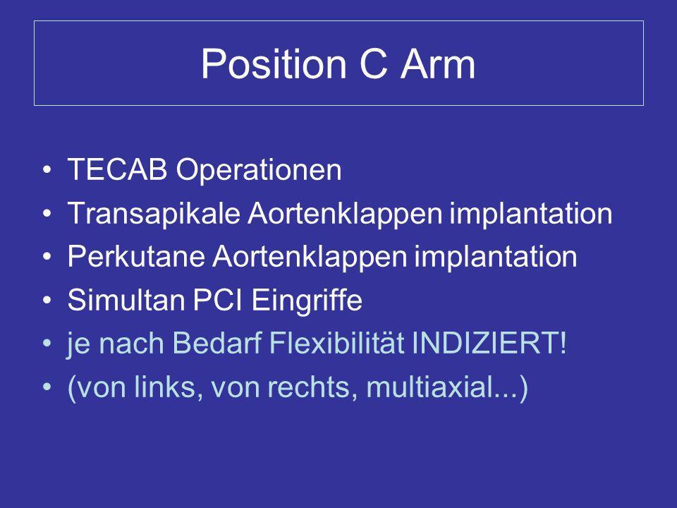 Position C Arm TECAB Operationen Transapikale Aortenklappen implantation Perkutane Aortenklappen implantation Simultan PCI Eingriffe je nach Bedarf Fl