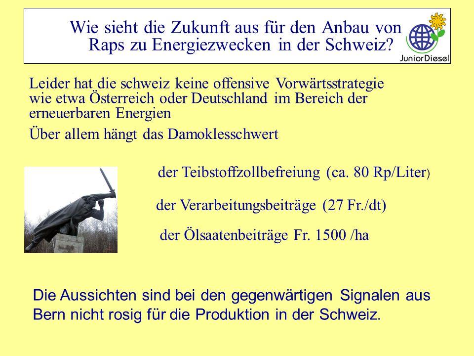 Wie sieht die Zukunft aus für den Anbau von Raps zu Energiezwecken in der Schweiz? Leider hat die schweiz keine offensive Vorwärtsstrategie wie etwa Ö