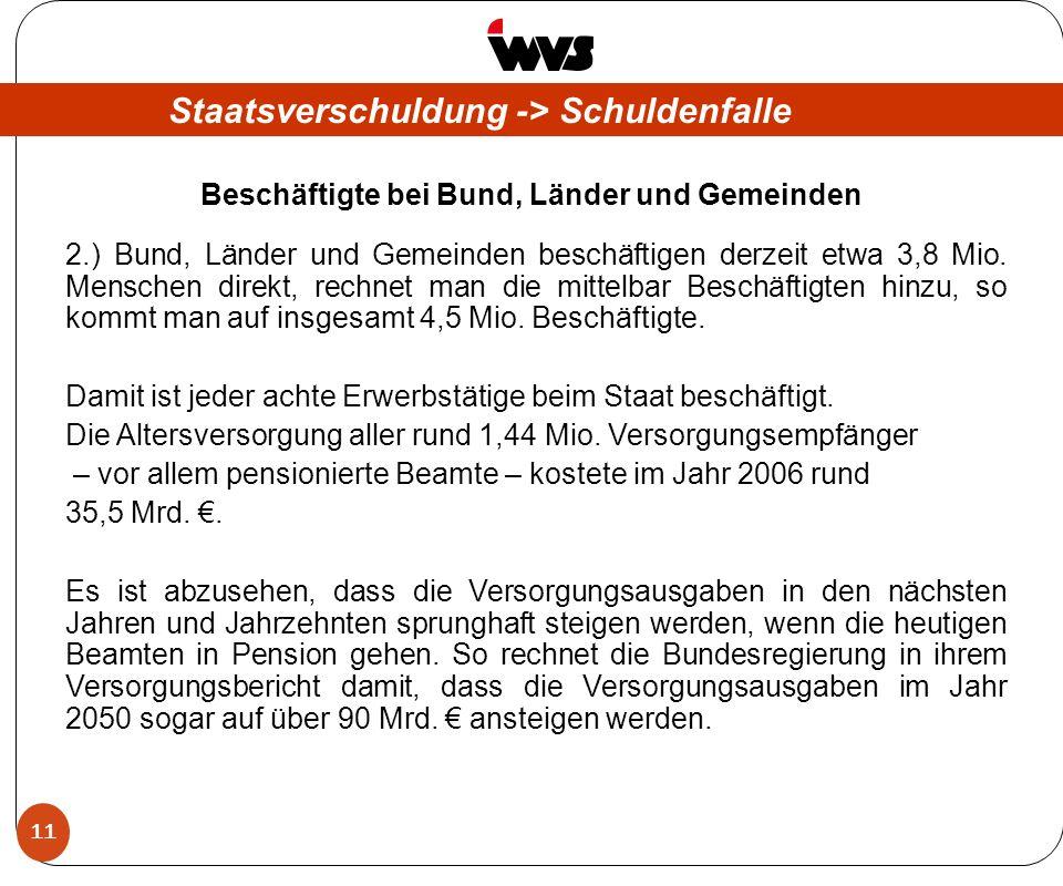11 Staatsverschuldung -> Schuldenfalle Beschäftigte bei Bund, Länder und Gemeinden 2.) Bund, Länder und Gemeinden beschäftigen derzeit etwa 3,8 Mio.