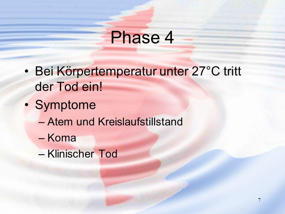 7 Phase 4 Bei Körpertemperatur unter 27°C tritt der Tod ein! Symptome –Atem und Kreislaufstillstand –Koma –Klinischer Tod