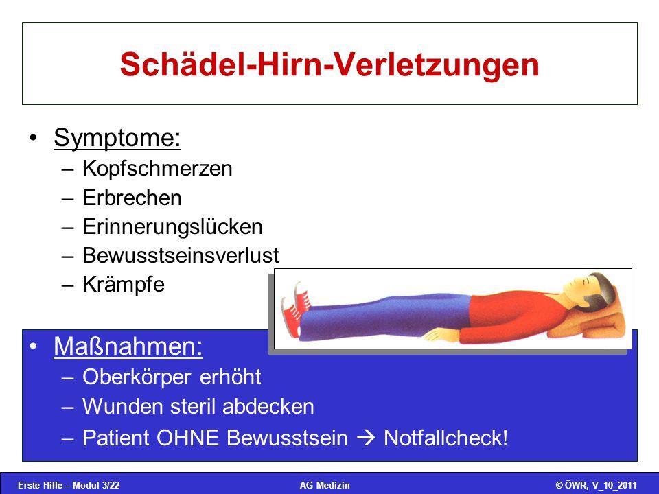 Erste Hilfe – Modul 3/22© ÖWR, V_10_2011AG Medizin Schädel-Hirn-Verletzungen Symptome: –Kopfschmerzen –Erbrechen –Erinnerungslücken –Bewusstseinsverlu