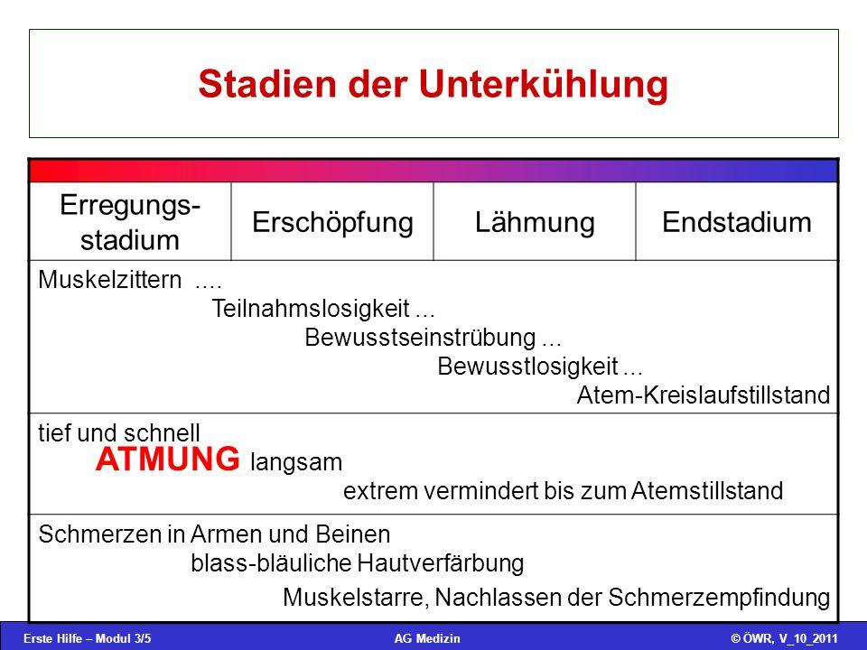 Erste Hilfe – Modul 3/5© ÖWR, V_10_2011AG Medizin Stadien der Unterkühlung Erregungs- stadium ErschöpfungLähmungEndstadium Muskelzittern.... Teilnahms