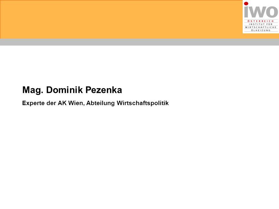 Mag. Dominik Pezenka Experte der AK Wien, Abteilung Wirtschaftspolitik