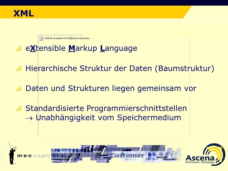 Der ideale Lösungsansatz XML eXtensible Markup Language Hierarchische Struktur der Daten (Baumstruktur) Daten und Strukturen liegen gemeinsam vor Standardisierte Programmierschnittstellen Unabhängigkeit vom Speichermedium