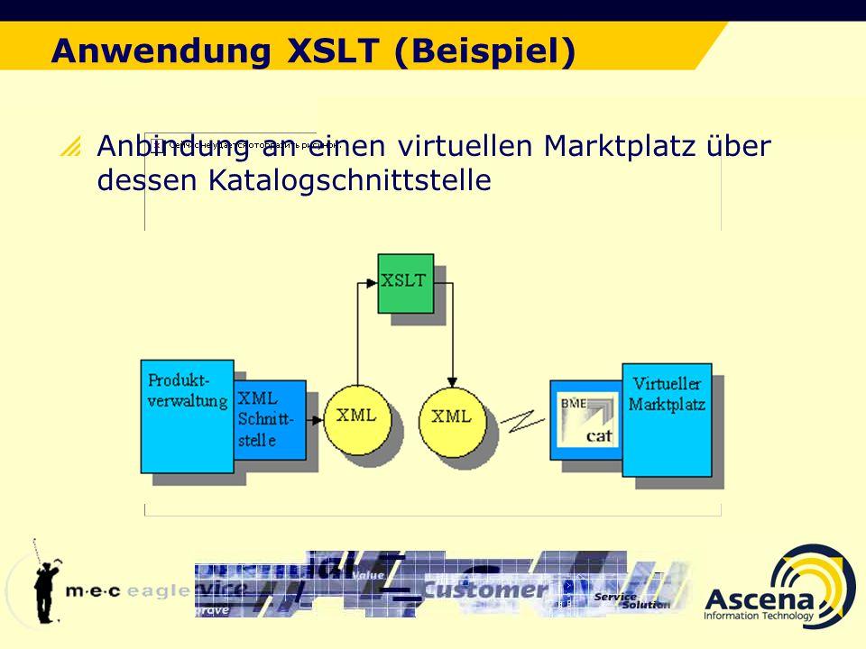 Der ideale Lösungsansatz Anwendung XSLT (Beispiel) Anbindung an einen virtuellen Marktplatz über dessen Katalogschnittstelle