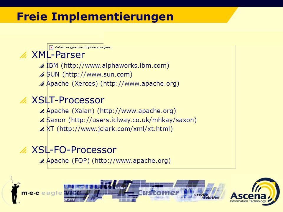 Der ideale Lösungsansatz Freie Implementierungen XML-Parser IBM (http://www.alphaworks.ibm.com) SUN (http://www.sun.com) Apache (Xerces) (http://www.apache.org) XSLT-Processor Apache (Xalan) (http://www.apache.org) Saxon (http://users.iclway.co.uk/mhkay/saxon) XT (http://www.jclark.com/xml/xt.html) XSL-FO-Processor Apache (FOP) (http://www.apache.org)
