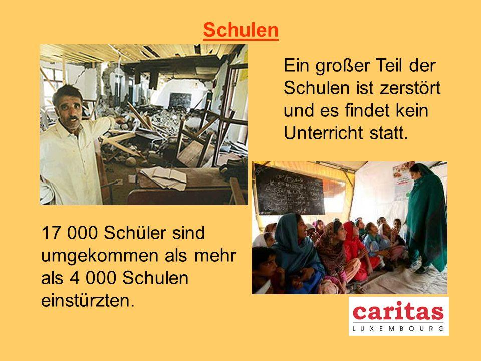 Schulen Ein großer Teil der Schulen ist zerstört und es findet kein Unterricht statt.