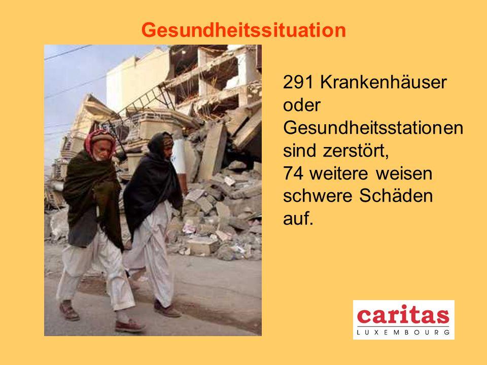 Gesundheitssituation 291 Krankenhäuser oder Gesundheitsstationen sind zerstört, 74 weitere weisen schwere Schäden auf.