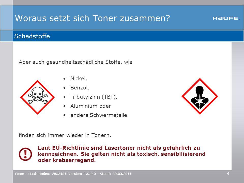 Toner - Haufe Index: 2652481 Version: 1.0.0.0 - Stand: 30.03.2011 4 Aber auch gesundheitsschädliche Stoffe, wie finden sich immer wieder in Tonern. Ni