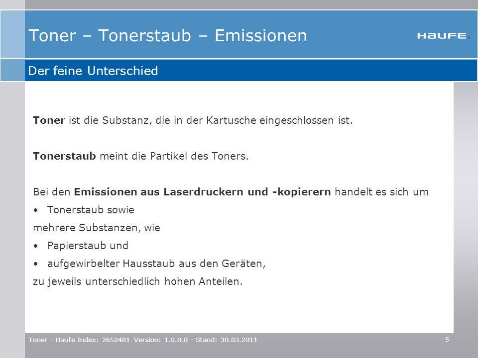 Toner - Haufe Index: 2652481 Version: 1.0.0.0 - Stand: 30.03.2011 5 Toner ist die Substanz, die in der Kartusche eingeschlossen ist. Tonerstaub meint