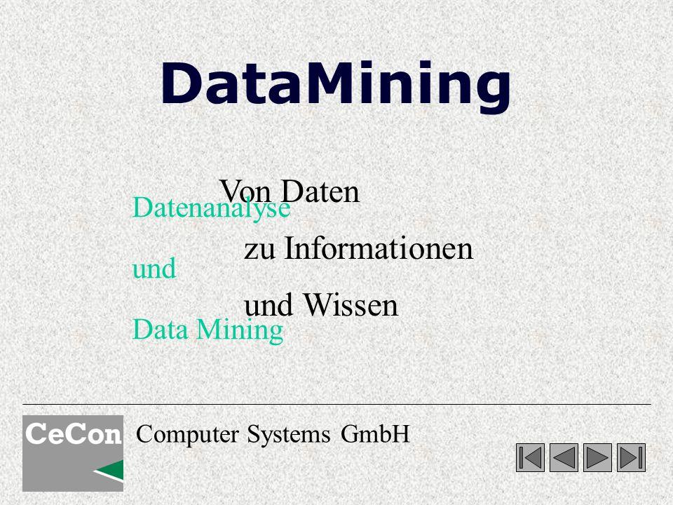 Computer Systems GmbH Von Daten zu Informationen und Wissen Datenanalyse und Data Mining DataMining