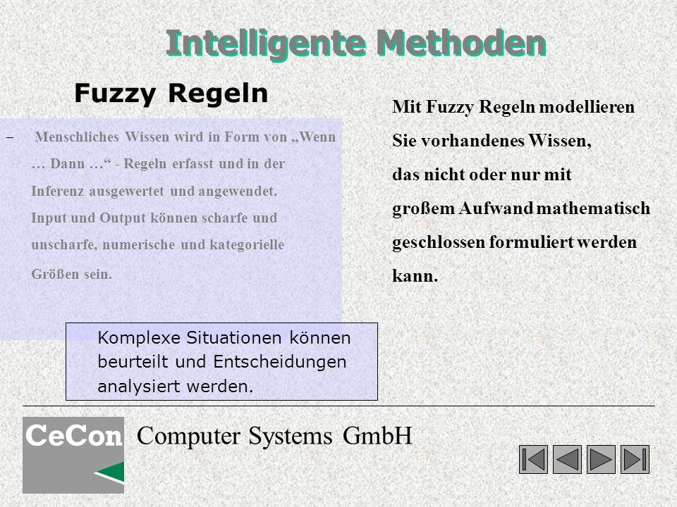 Computer Systems GmbH Mit Fuzzy Regeln modellieren Sie vorhandenes Wissen, das nicht oder nur mit großem Aufwand mathematisch geschlossen formuliert w