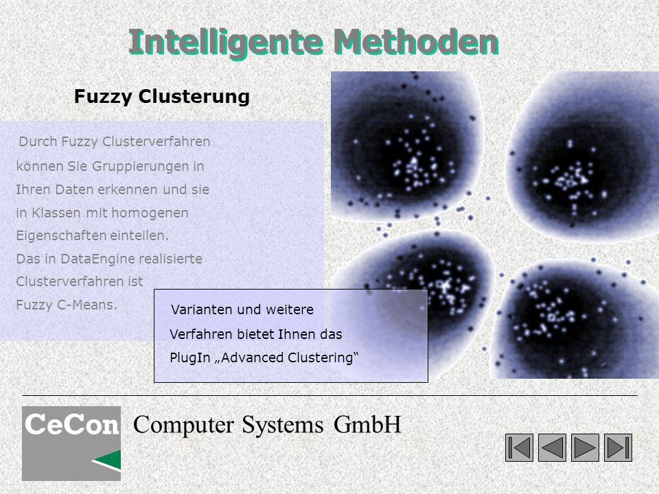 Computer Systems GmbH Intelligente Methoden Fuzzy Clusterung Durch Fuzzy Clusterverfahren können Sie Gruppierungen in Ihren Daten erkennen und sie in Klassen mit homogenen Eigenschaften einteilen.