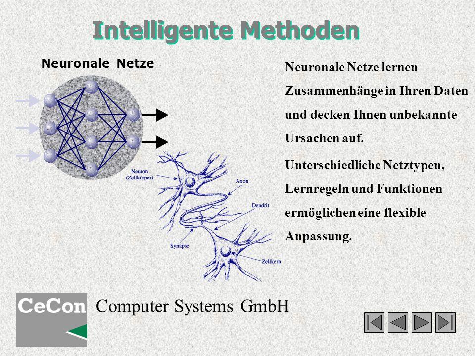 Computer Systems GmbH Intelligente Methoden Neuronale Netze lernen Zusammenhänge in Ihren Daten und decken Ihnen unbekannte Ursachen auf. Unterschiedl