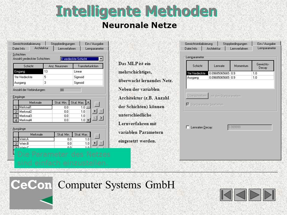 Computer Systems GmbH Intelligente Methoden Das MLP ist ein mehrschichtiges, überwacht lernendes Netz. Neben der variablen Architektur (z.B. Anzahl de