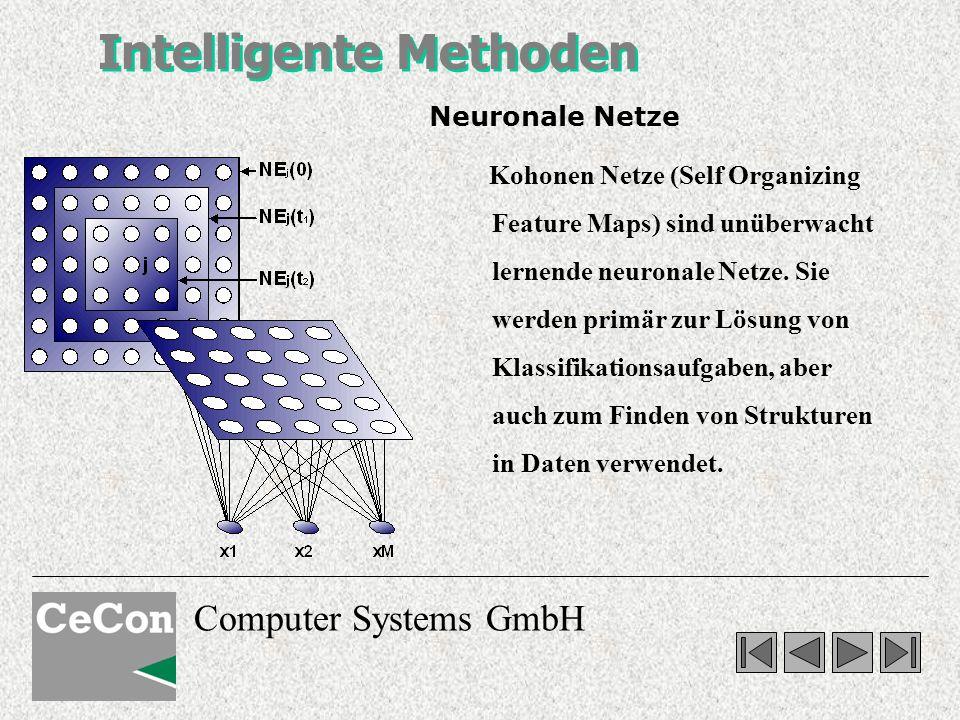 Computer Systems GmbH Intelligente Methoden Neuronale Netze Kohonen Netze (Self Organizing Feature Maps) sind unüberwacht lernende neuronale Netze. Si