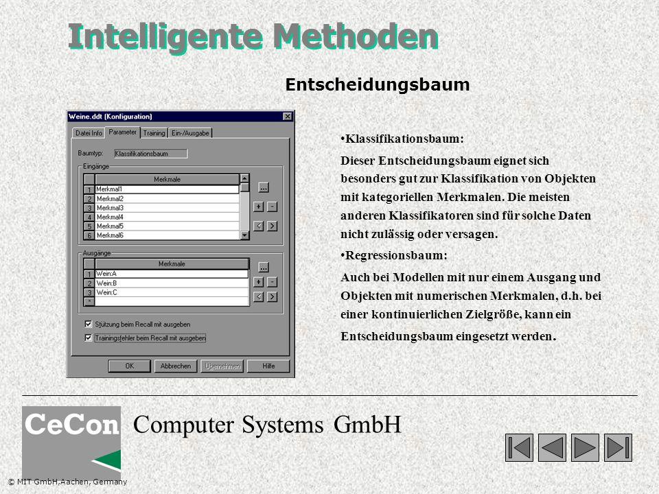 Computer Systems GmbH Intelligente Methoden Klassifikationsbaum: Dieser Entscheidungsbaum eignet sich besonders gut zur Klassifikation von Objekten mit kategoriellen Merkmalen.
