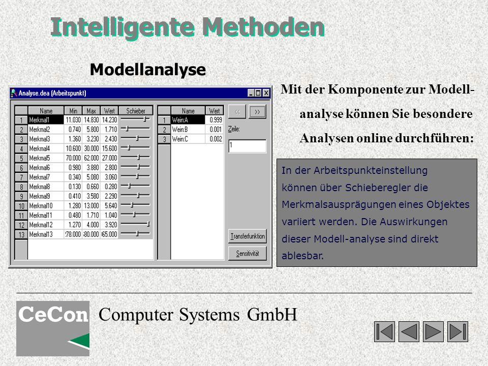 Computer Systems GmbH Intelligente Methoden Mit der Komponente zur Modell- analyse können Sie besondere Analysen online durchführen: In der Arbeitspunkteinstellung können über Schieberegler die Merkmalsausprägungen eines Objektes variiert werden.
