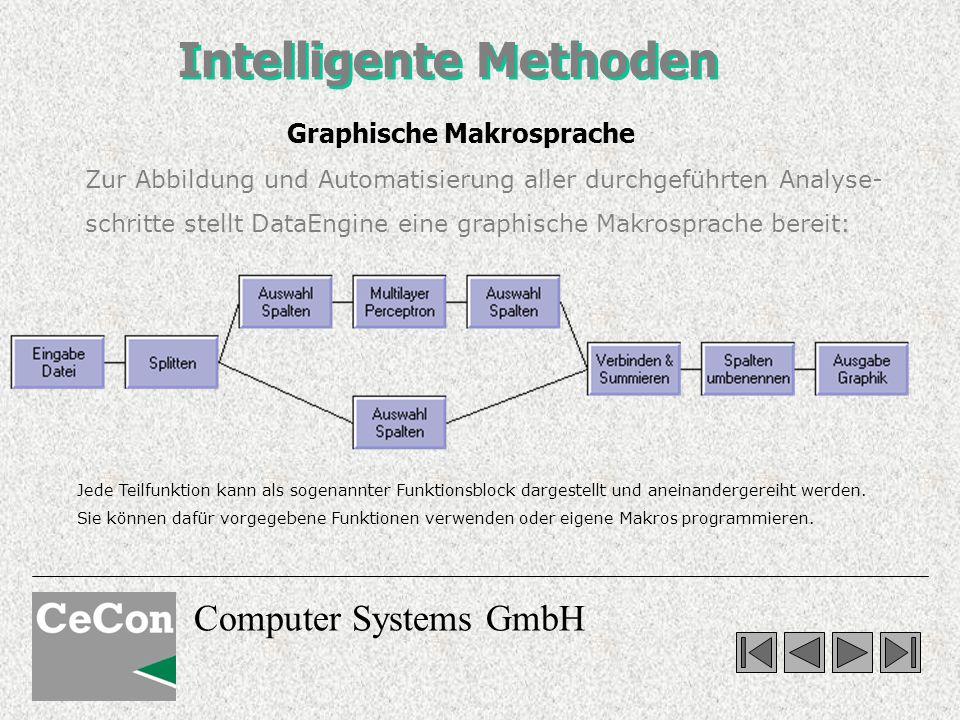 Computer Systems GmbH Intelligente Methoden Zur Abbildung und Automatisierung aller durchgeführten Analyse- schritte stellt DataEngine eine graphische Makrosprache bereit: Jede Teilfunktion kann als sogenannter Funktionsblock dargestellt und aneinandergereiht werden.