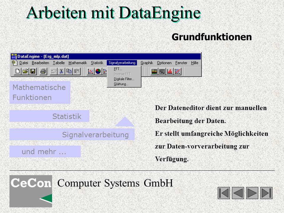 Computer Systems GmbH Arbeiten mit DataEngine Signalverarbeitung und mehr... Mathematische Funktionen Statistik Grundfunktionen Der Dateneditor dient
