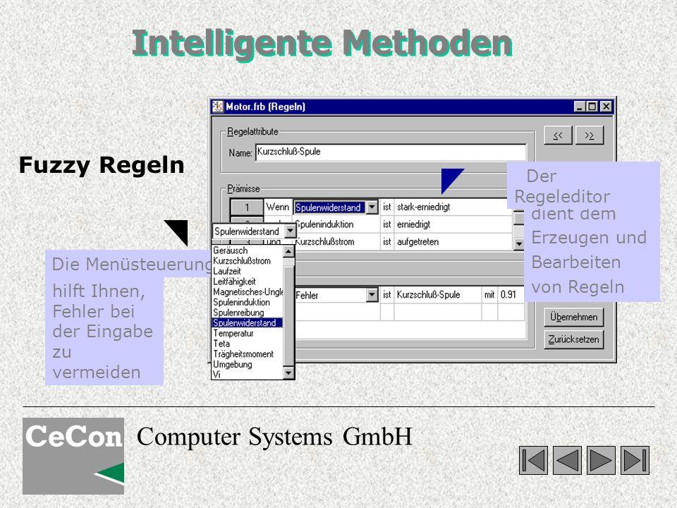 Computer Systems GmbH Mit Fuzzy Regeln modellieren Sie vorhandenes Wissen, das nicht oder nur mit großem Aufwand mathematisch geschlossen formuliert werden kann.