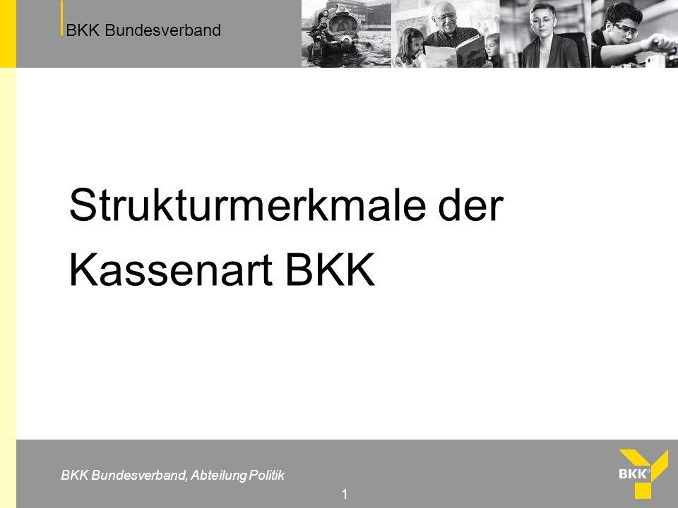 BKK Bundesverband BKK Bundesverband, Abteilung Politik 1 Strukturmerkmale der Kassenart BKK