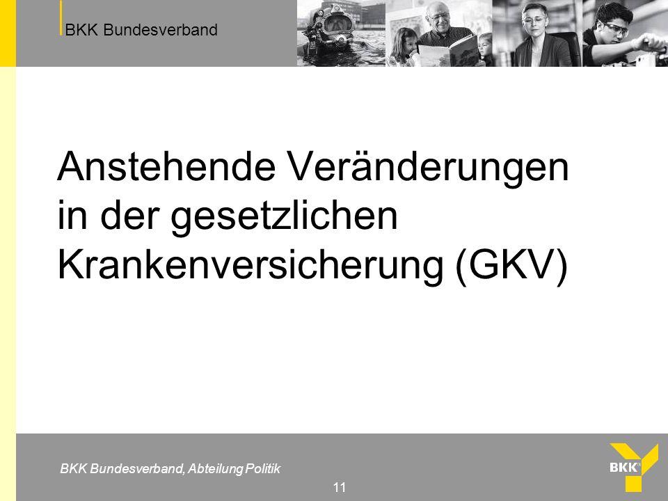 BKK Bundesverband BKK Bundesverband, Abteilung Politik 11 Anstehende Veränderungen in der gesetzlichen Krankenversicherung (GKV)