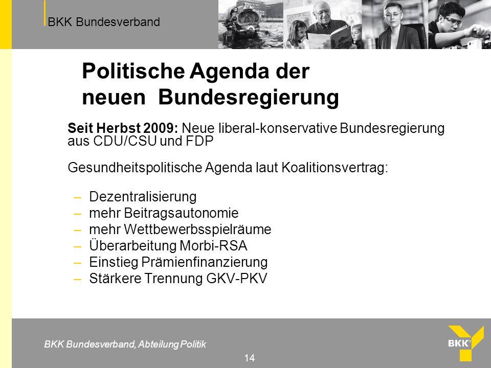 BKK Bundesverband BKK Bundesverband, Abteilung Politik 14 Politische Agenda der neuen Bundesregierung Seit Herbst 2009: Neue liberal-konservative Bund