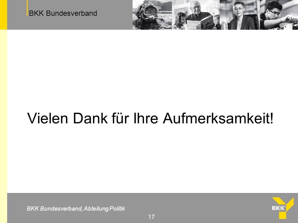 BKK Bundesverband BKK Bundesverband, Abteilung Politik 17 Vielen Dank für Ihre Aufmerksamkeit!