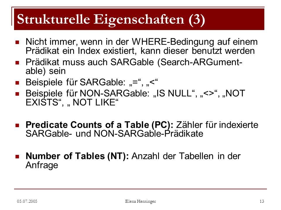 05.07.2005 Elena Hensinger 13 Nicht immer, wenn in der WHERE-Bedingung auf einem Prädikat ein Index existiert, kann dieser benutzt werden Prädikat mus