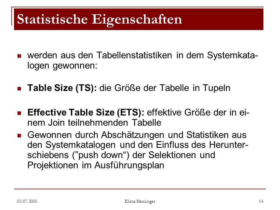 05.07.2005 Elena Hensinger 14 werden aus den Tabellenstatistiken in dem Systemkata- logen gewonnen: Table Size (TS): die Größe der Tabelle in Tupeln E
