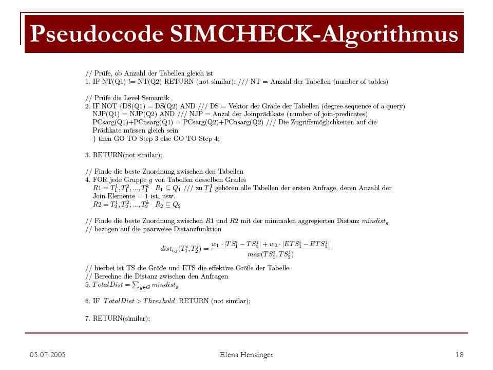05.07.2005 Elena Hensinger 18 Pseudocode SIMCHECK-Algorithmus