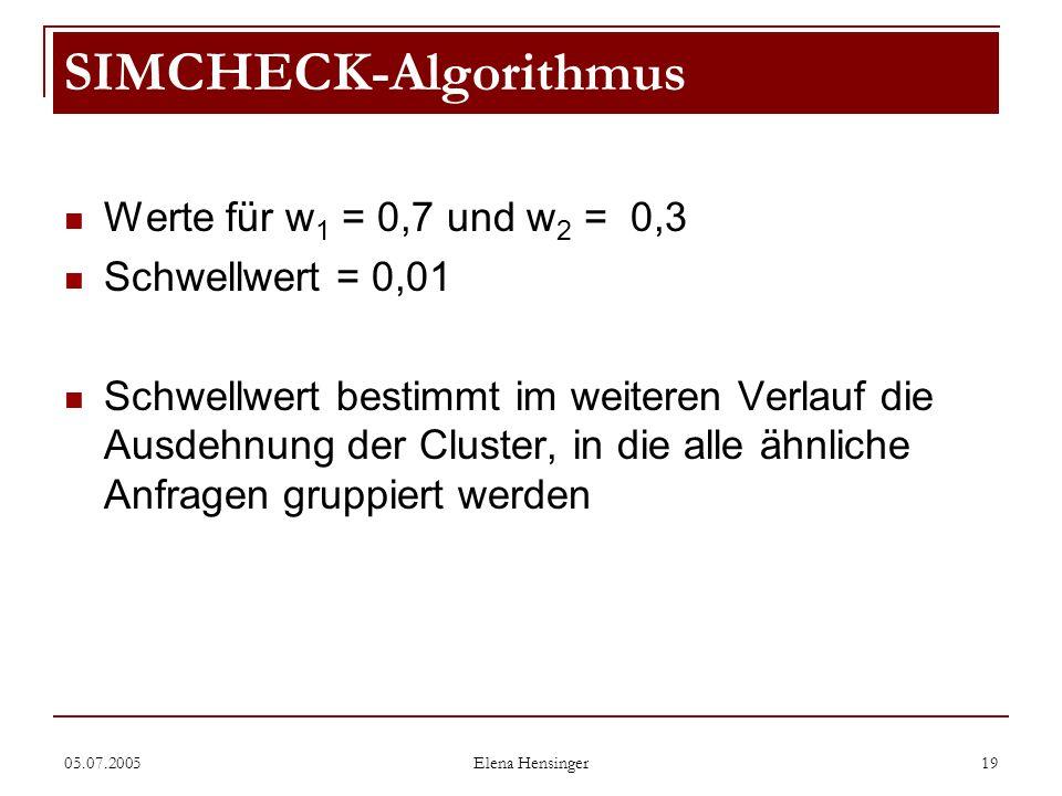 05.07.2005 Elena Hensinger 19 Werte für w 1 = 0,7 und w 2 = 0,3 Schwellwert = 0,01 Schwellwert bestimmt im weiteren Verlauf die Ausdehnung der Cluster