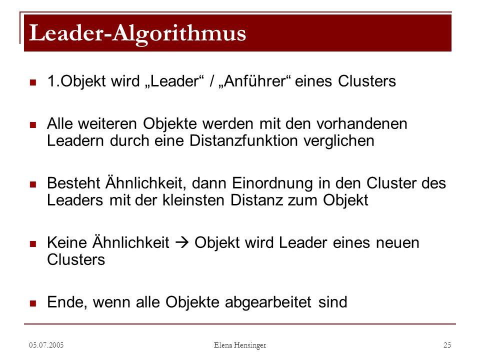 05.07.2005 Elena Hensinger 25 1.Objekt wird Leader / Anführer eines Clusters Alle weiteren Objekte werden mit den vorhandenen Leadern durch eine Dista