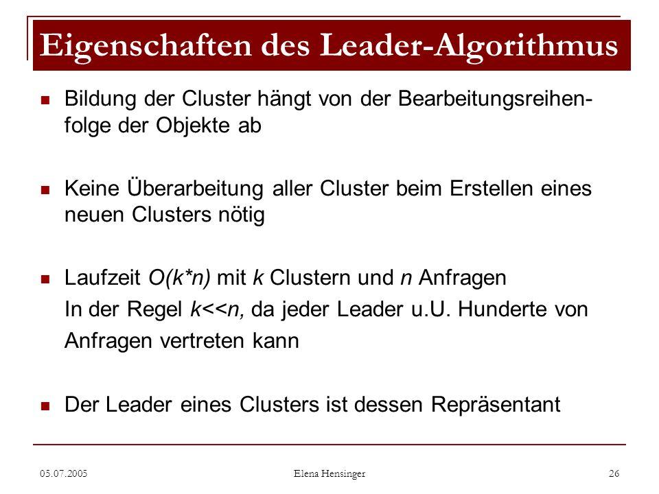 05.07.2005 Elena Hensinger 26 Bildung der Cluster hängt von der Bearbeitungsreihen- folge der Objekte ab Keine Überarbeitung aller Cluster beim Erstel